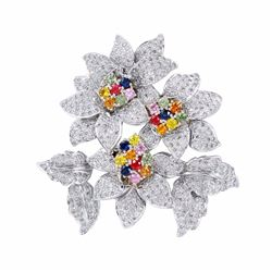 18KT White Gold 4.44ctw Multi Color Sapphire and Diamond Brooch