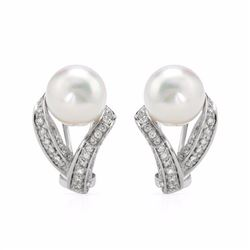 14KT White Gold 13.46ctw Pearl and Diamond Earrings