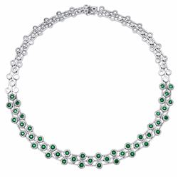 14KT White Gold 6.11ctw Emerald and Diamond Necklace