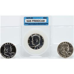 Lot of (3) 1963 and 1963-D Franklin and 1970 Kennedy Half Dollars
