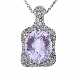 14KT White Gold 4.36ct Amethyst and Diamond Pendant with Chain