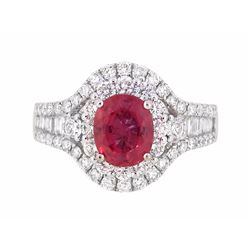 18KT White Gold 1.64ct GIA Cert Pink Sapphire and Diamond Ring