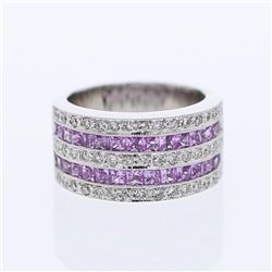 14KT White Gold 1.80ctw Pink Sapphire and Diamond Ring