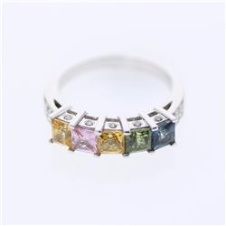 14KT White Gold 2.45ctw Multi Color Sapphire and Diamond Ring