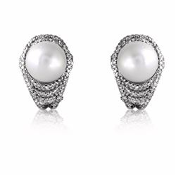 18KT White Gold 16.04ctw Pearl and Diamond Earrings