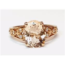 10KT Rose Gold 3.50ct Morganite and Diamond Ring
