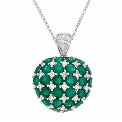 14KT White Gold 7.26ctw Emerald and Diamond Pendant with Chain