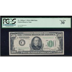 1934A $500 Philadelphia Federal Reserve Bank Note PCGS 30