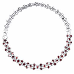 14KT White Gold 8.07ctw Ruby and Diamond Necklace