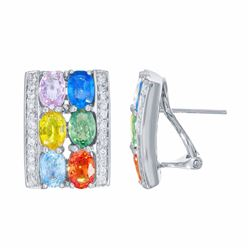 14KT White Gold 6.94ctw Multi Color Sapphire and Diamond Earrings