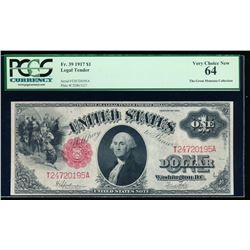 1917 $1 Legal Tender Note PCGS 64