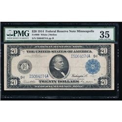 1914 $20 Minneapolis Federal Reserve Note PMG 35