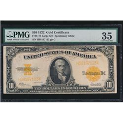 1922 $10 Large Gold Certificate PMG 35