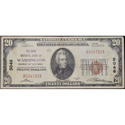 1929 $20 National Bank of Washington Note