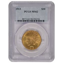 1913 $10 Indian Head Eagle Gold Coin PCGS MS62