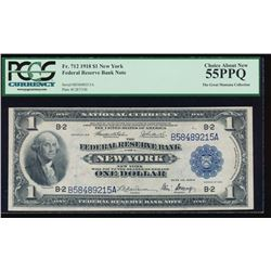 1918 $1 New York Federal Reserve Bank Note PCGS 55PPQ