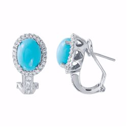 14KT White Gold 3.94ctw Turquoise and Diamond Earrings