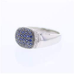 14KT White Gold 0.55ctw Blue Sapphire and Diamond Ring