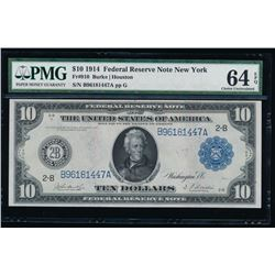1914 $10 New York Federal Reserve Note PMG 64