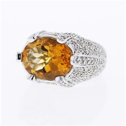 18KT White Gold 8.55ct Citrine and Diamond Ring