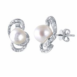 14KT White Gold 12.30ctw Pearl and Diamond Earrings