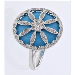 18KT White Gold 11.95ct Turquoise and Diamond Ring