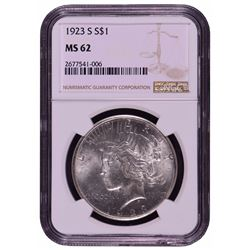 1923-S $1 Peace Silver Dollar Coin NGC MS62