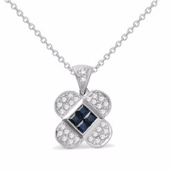 18KT White Gold 0.40ctw Blue Sapphire and Diamond Pendant with Chain