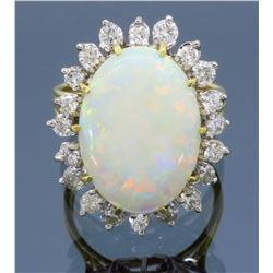 18KT Yellow Gold Opal and Diamond Ring