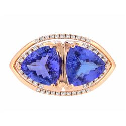 14KT Rose Gold 4.66ctw Tanzanite and Diamond Ring