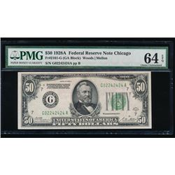 1928A $50 Chicago Federal Reserve Note Fancy Serial Number PMG 64EPQ
