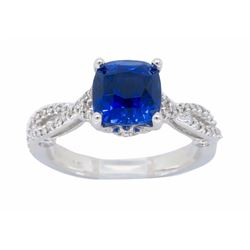 18KT White Gold 2.18ct GIA Blue Sapphire and Diamond Ring