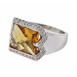 14KT White Gold 5.20ct Citrine and Diamond Ring