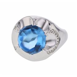 14KT White Gold 9.64ct Blue Topaz and Diamond Ring