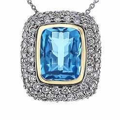 14KT Two Tone Gold 4.10ct Blue Topaz and Diamond Pendant with Chain