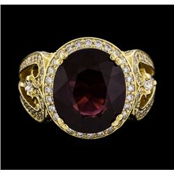 14KT Yellow Gold 7.38ct Garnet and Diamond Ring