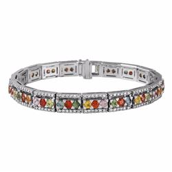 14KT White Gold 7.10ctw Multi Color Sapphire and Diamond Bracelet