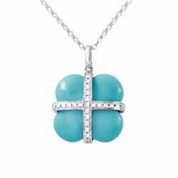 14KT White Gold 8.85ct Turquoise and Diamond Pendant with Chain