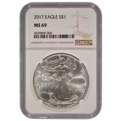 2017-W $1 American Silver Eagle Coin NGC MS69