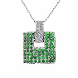 14KT White Gold 1.82ctw Green Garnet and Diamond Pendant with Chain
