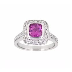 18KT White Gold 1.14ct GIA Cert Pink Sapphire and Diamond Ring