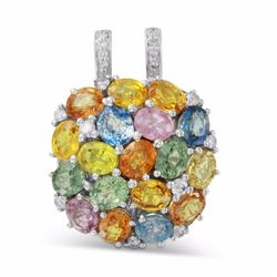 14KT White Gold 8.47ctw Multi Color Sapphire and Diamond Pendant