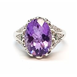 14KT White 5.30ctw Amethyst, Emerald and Diamond Ring