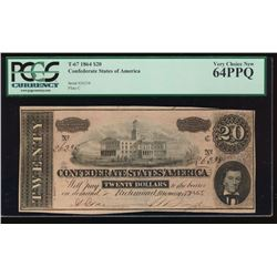1864 $20 Confederate States of America Note PCGS 64PPQ