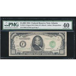 1934 $1000 Atlanta Federal Reserve Bank Note PMG 40