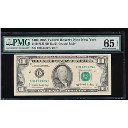 1988 $100 New York Federal Reserve Note PMG 65EPQ