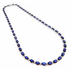 14KT White Gold 29.36ctw Sapphire and Diamond Necklace