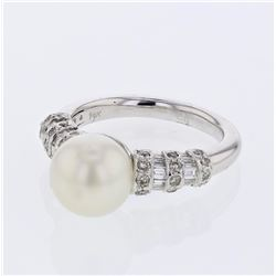 14KT White Gold 5.67ct Pearl and Diamond Ring