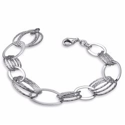 Sterling Silver Polished & Textured Oval Link Bracelet