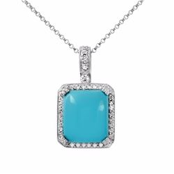 14KT White Gold 7.74ct Turquoise and Diamond Pendant with Chain